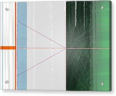 Abstract Green And Orange Acrylic Print by Naxart Studio