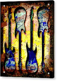 Abstract Guitars Acrylic Print by David G Paul