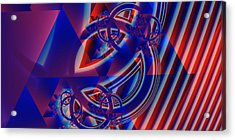 Acrylic Print featuring the digital art Abstract In Red And Blue by Mario Carini