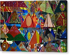 Abstract In Triangles Acrylic Print by Peggy Zachariou