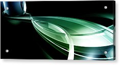 Abstract Lines, Leaf Shape Acrylic Print by Ralf Hiemisch