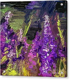Abstract Lupines Decorative Art By Ginette Acrylic Print by Ginette Callaway