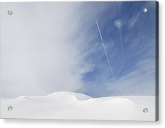 Abstract Minimalist Winter Landscape - Snow And Blue Sky Acrylic Print by Matthias Hauser