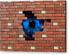 Abstract Of Eye Looking Through Hole In Brick Wall Acrylic Print by Mehau Kulyk