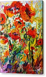 Impressionist Red Poppies  Acrylic Print