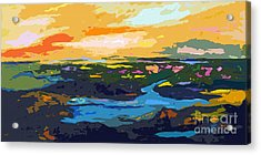 Abstract Sunset Landscape Waterways Acrylic Print by Ginette Callaway