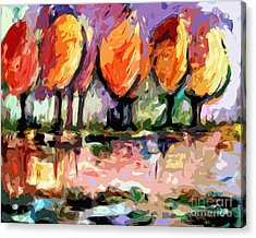 Abstract Trees By The Rivers Edge Landscape Acrylic Print
