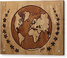 Abstract World Globe Map Coffee Painting Acrylic Print