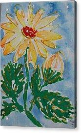 Abstract Yellow Daisy Acrylic Print by Jan Soper