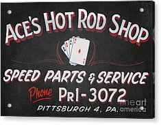 Ace's Hot Rod Shop Acrylic Print by Clarence Holmes