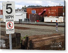 Active Railroad . No Tresspassing Acrylic Print by Wingsdomain Art and Photography