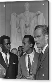 Actors Sidney Poitier, Charlton Heston Acrylic Print by Everett