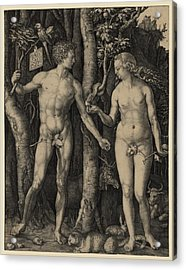 Adam And Eve, 1504 Engraving By German Acrylic Print by Everett