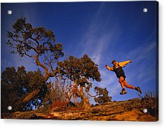 Adam Lederer Trail-runs Near Dolores Acrylic Print by Bill Hatcher