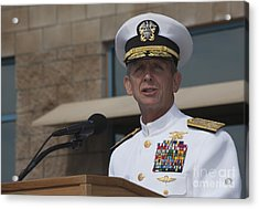 Admiral Eric Olson Speaks Acrylic Print by Michael Wood