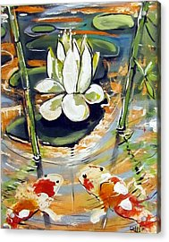 Admiring A Lotus Acrylic Print by Robert Wolverton Jr