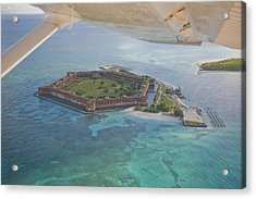 Aerial Of Fort Jeffereson, At Dry Acrylic Print by Mike Theiss