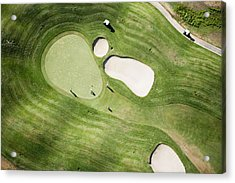 Aerial Of Golfers On Green Of Tierra Del Sol Golf Course Acrylic Print by Holger Leue