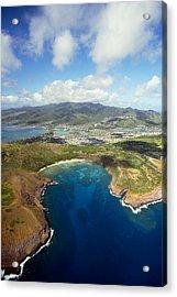 Aerial Of Hanauma Bay Acrylic Print by Ron Dahlquist - Printscapes