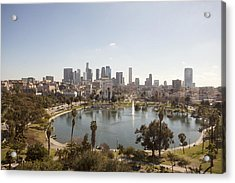 Aerial View Of Lake In Urban Park Acrylic Print by Cultura Travel/Zak Kendal