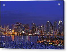 Aerial View Of San Diego Skyline With Acrylic Print by Stuart Westmorland