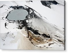 Aerial View Of Snow-covered Ruapehu Acrylic Print by Richard Roscoe