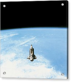 Aerial View Of The Space Shuttle In Orbit Above Earth Acrylic Print by Stockbyte