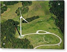 Aerial View Of Wind Turbine Acrylic Print by Daniel Reiter