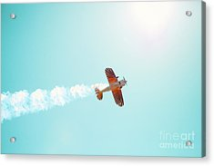 Aerobatic Biplane Inverted Acrylic Print by Kim Fearheiley