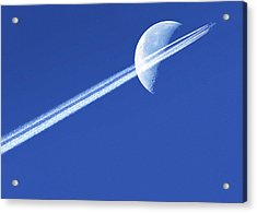 Aeroplane Contrail Against The Moon Acrylic Print by Detlev Van Ravenswaay