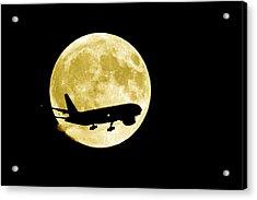 Aeroplane Silhouetted Against A Full Moon Acrylic Print by David Nunuk