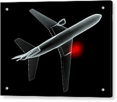 Aeroplane, Simulated X-ray Artwork Acrylic Print by Christian Darkin