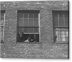 African American Children At Window Acrylic Print by Everett