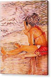 African American Girl On The Beach Acrylic Print by Candace  Hardy