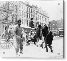 African American Men Loading Snow Onto Acrylic Print by Everett