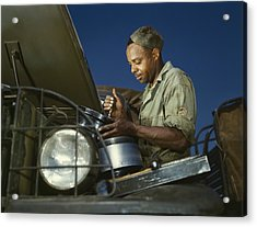 African American Soldier, A Truck Acrylic Print by Everett