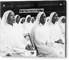 African American Women Dressed In White Acrylic Print by Everett