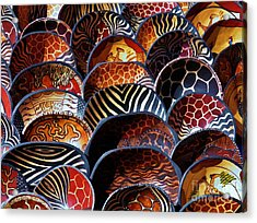 Acrylic Print featuring the photograph African Art  Wooden Bowls by Werner Lehmann