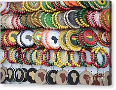 African Beaded Earrings Acrylic Print by Neil Overy