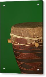 African Drum On Green Backgound Acrylic Print by Philip Haynes