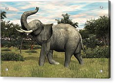 Acrylic Print featuring the digital art African Elephant by Walter Colvin
