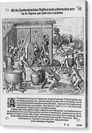 African Slaves Processing Sugar Cane Acrylic Print by Everett