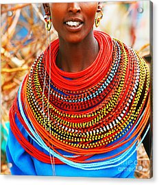 African Woman With Traditional Accessories Acrylic Print by Anna Om