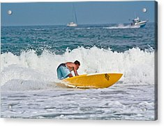 Acrylic Print featuring the photograph After Catching A Great Wave by Ann Murphy