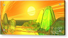 Acrylic Print featuring the digital art Green Crystal Hills by Kim Prowse