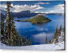 Afternoon Clearing At Crater Lake Acrylic Print by Greg Nyquist