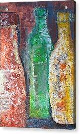 Aged Bottles Acrylic Print by Janice Gelona