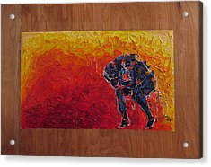 Acrylic Print featuring the painting Agony Doubled Over In Flames On Wood Panel by M Zimmerman