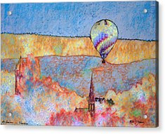Air Balloon Over Peeebles Acrylic Print by Richard James Digance