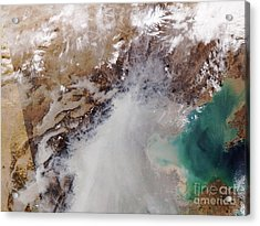 Air Pollution Over China Acrylic Print by NASA / Science Source